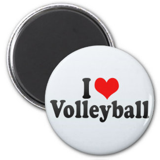 I Love Volleyball 2 Inch Round Magnet