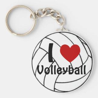 I Love Volleyball Basic Round Button Keychain