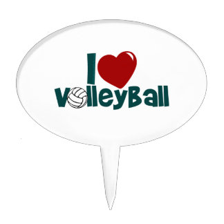 I Love Volleyball Cake Topper