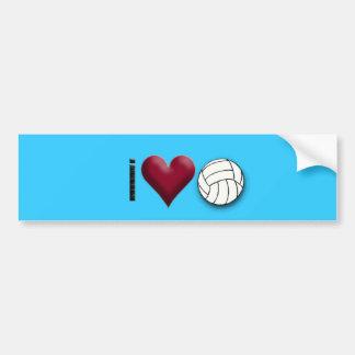 i love volleyball car bumper sticker