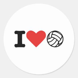 I love volleyball classic round sticker
