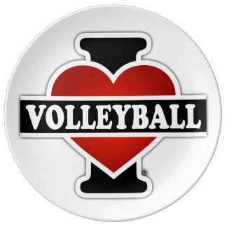 I Love Volleyball Dinner Plate