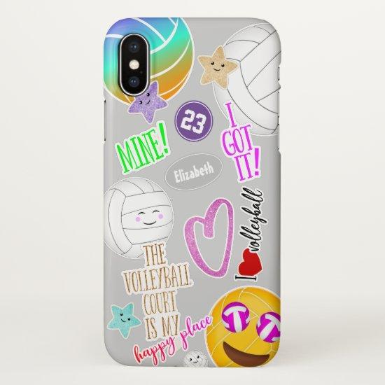 I love volleyball emoji kawaii cute stickered look iPhone x case