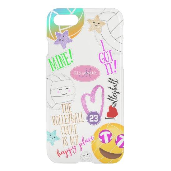 I love volleyball emoji kawaii cute stickered look iPhone SE/8/7 case