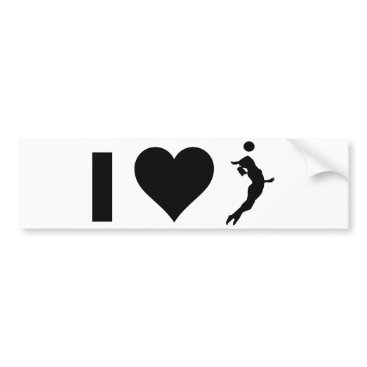 Beach Themed I Love Volleyball (Female) Bumper Sticker