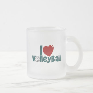 I Love Volleyball Frosted Glass Coffee Mug