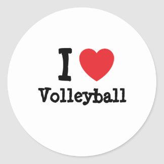 I love Volleyball heart custom personalized Classic Round Sticker