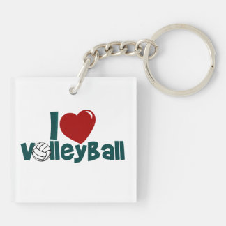I Love Volleyball Keychain