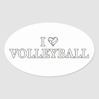 I Love Volleyball Oval Sticker
