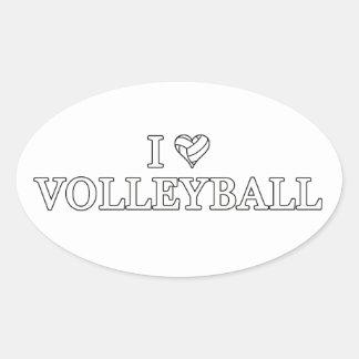 I Love Volleyball Oval Sticker