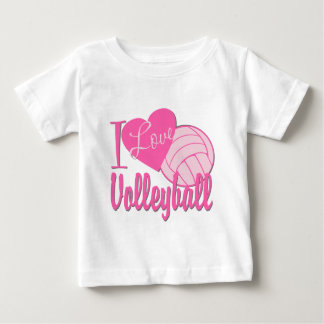 I Love Volleyball Pink Baby T-Shirt