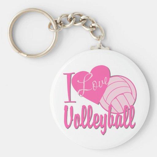 I Love Volleyball Pink Basic Round Button Keychain