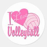 I Love Volleyball Pink Classic Round Sticker
