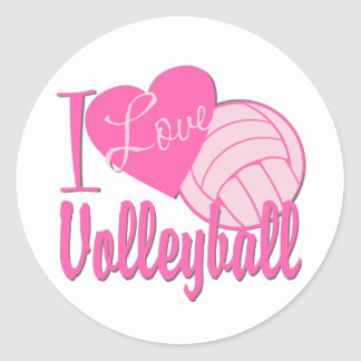 I Love Volleyball Pink Classic Round Sticker