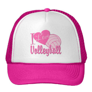 I Love Volleyball Pink Trucker Hats