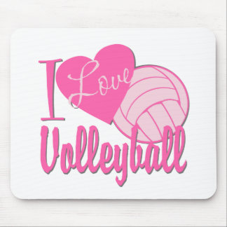 I Love Volleyball Pink Mouse Pad