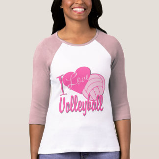 I Love Volleyball Pink Shirt