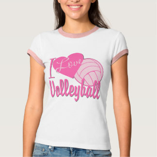 I Love Volleyball Pink T Shirts
