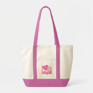 I Love Volleyball Pink Tote Bag
