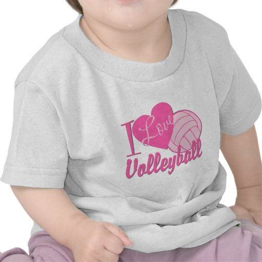 I Love Volleyball Pink T Shirt