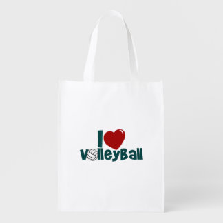 I Love Volleyball Reusable Grocery Bag