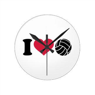 I love Volleyball Round Wall Clocks