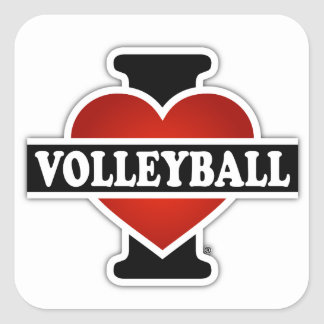 I Love Volleyball Square Sticker