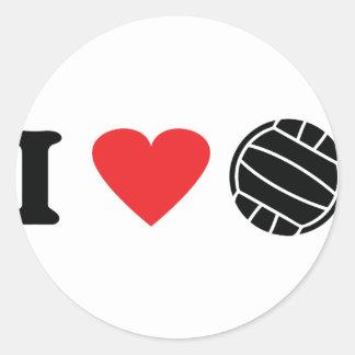 I love volleyball round stickers