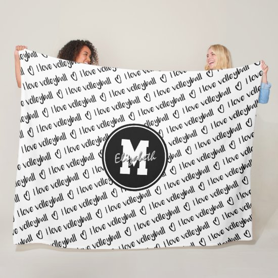 I love volleyball typography black white ANY color Fleece Blanket