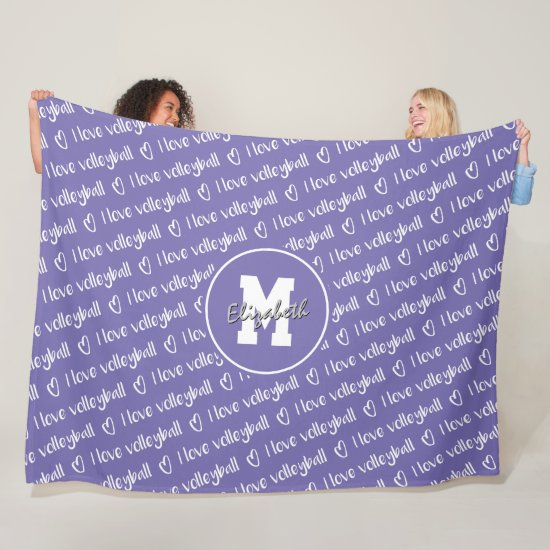 I love volleyball typography lilac ANY color Fleece Blanket