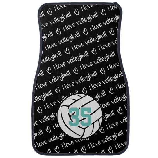 I love volleyball typography pattern personalized car floor mat