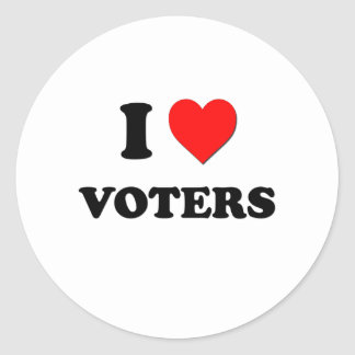 I love Voters Round Stickers