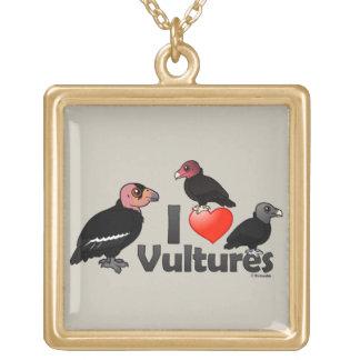I Love Vultures (North America) Square Pendant Necklace