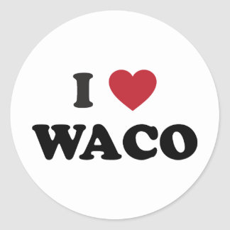 I Love Waco Texas Classic Round Sticker