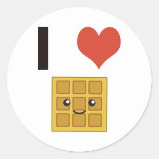 I love Waffles Classic Round Sticker