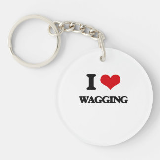 I love Wagging Single-Sided Round Acrylic Keychain