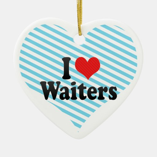 I Love Waiters Double-Sided Heart Ceramic Christmas Ornament