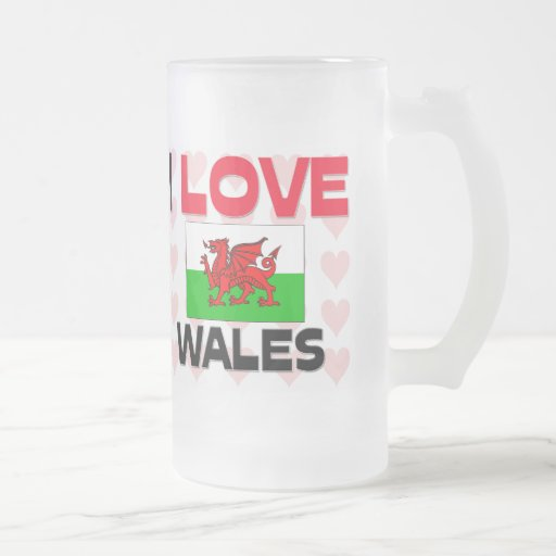 I Love Wales 16 Oz Frosted Glass Beer Mug