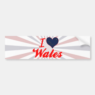 I Love Wales, Alaska Car Bumper Sticker