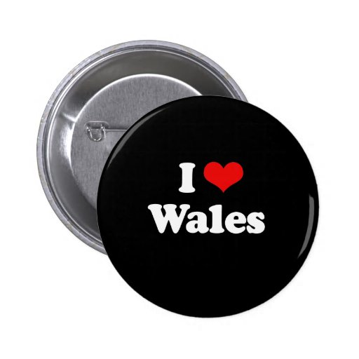 I Love Wales Tshirt Buttons