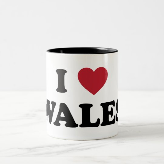 I Love Wales, United Kingdom Two-Tone Coffee Mug