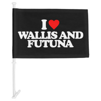 I LOVE WALLIS AND FUTUNA CAR FLAG