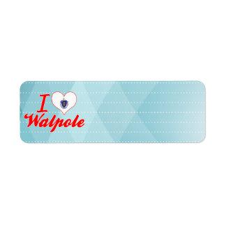I Love Walpole, Massachusetts Custom Return Address Label