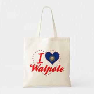 I Love Walpole, New Hampshire Canvas Bags