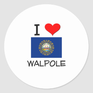 I Love Walpole New Hampshire Round Sticker