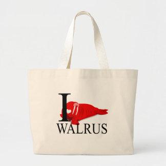 I Love Walrus Tote Bags