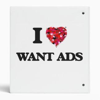 I love Want Ads 3 Ring Binders