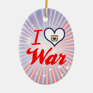 I Love War, West Virginia Double-Sided Oval Ceramic Christmas Ornament