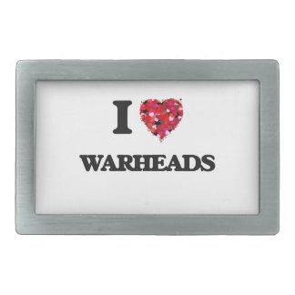 I love Warheads Rectangular Belt Buckle