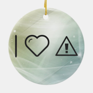 I Love Warning Exclamations Double-Sided Ceramic Round Christmas Ornament